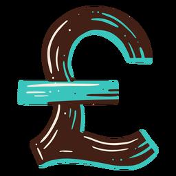 Elemento de desenho de mão de símbolo de libra
