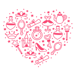Composição do coração da história da princesa