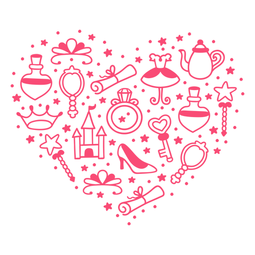 Princess story heart composition Transparent PNG