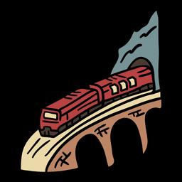 Elemento dibujado a mano del túnel ferroviario en color