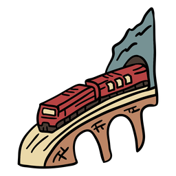 Railway tunnel handdrawn element in color