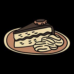 Sacher cake austrian dish handdrawn color element
