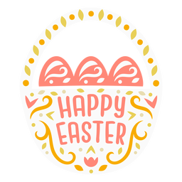 Scandinavian style happy easter basket badge