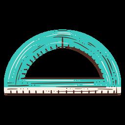 Dibujado a mano herramienta de geometría de semicírculo