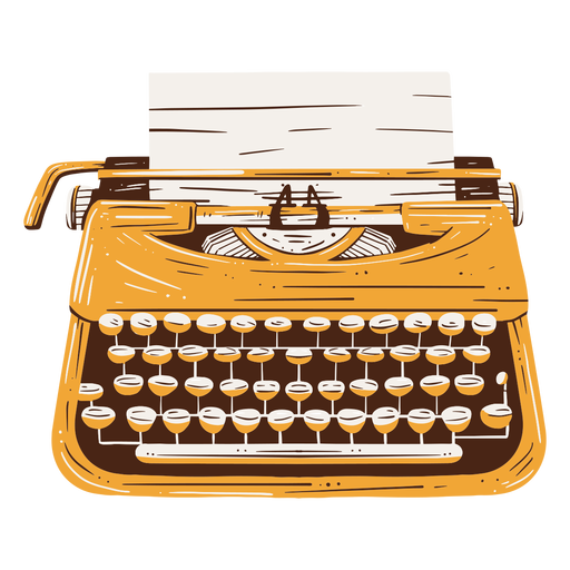 Traditional typing machine text hand drawn element