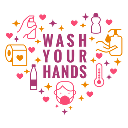 Lave sus manos composición del corazón