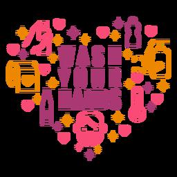 Lávese las manos composición del corazón