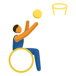 Pictograma de paralímpicos de baloncesto en silla de ruedas