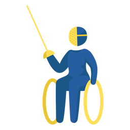Pictograma de paralímpicos de esgrima en silla de ruedas