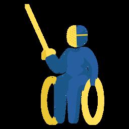Pictograma paralímpico de esgrima en silla de ruedas