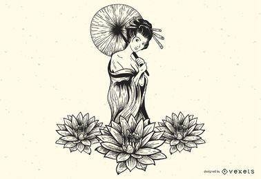 Vector de hermosa chica sexy Lotus