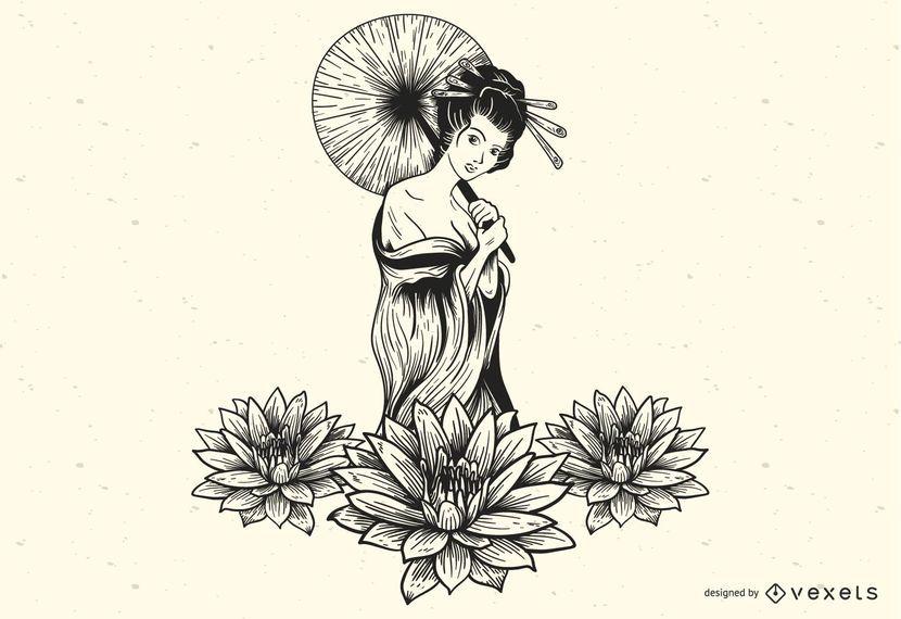 Schöner sexy Lotus-Mädchenvektor