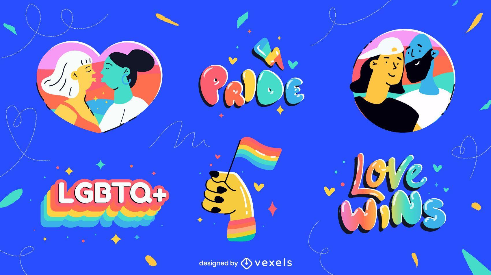 Conjunto colorido de elementos do mês do orgulho