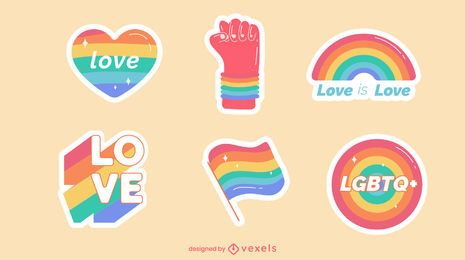 Pride rainbow stickers set