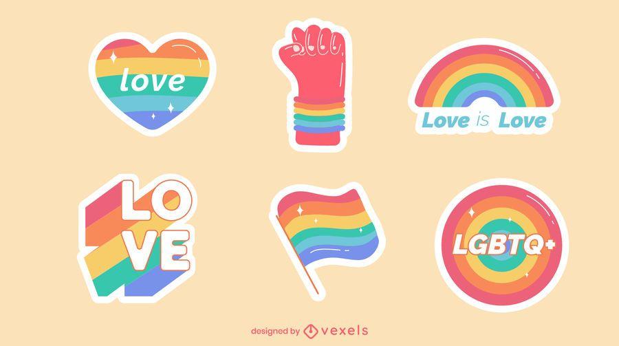 Conjunto de pegatinas de orgullo arcoiris