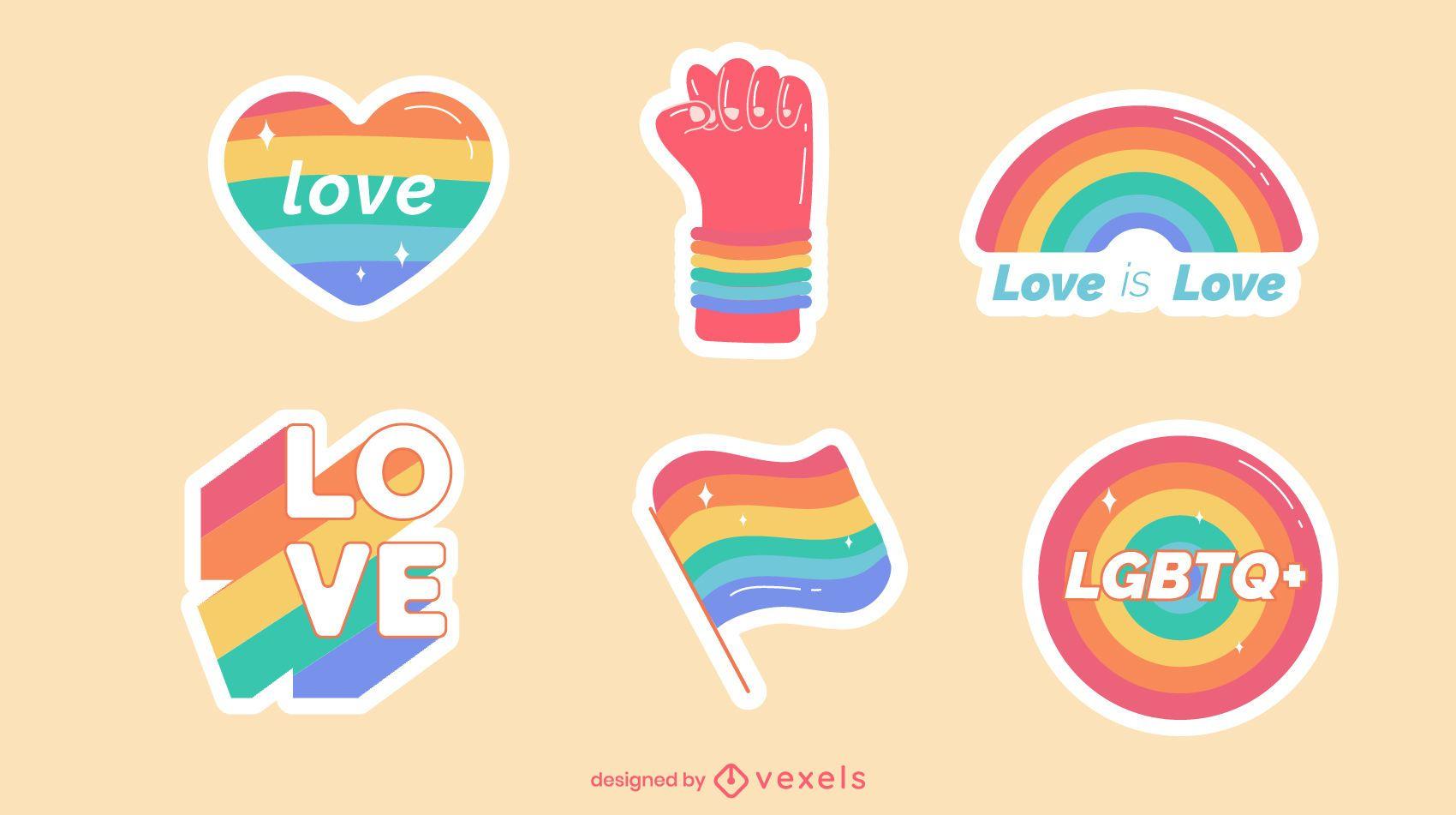 Pride rainbow stickers set