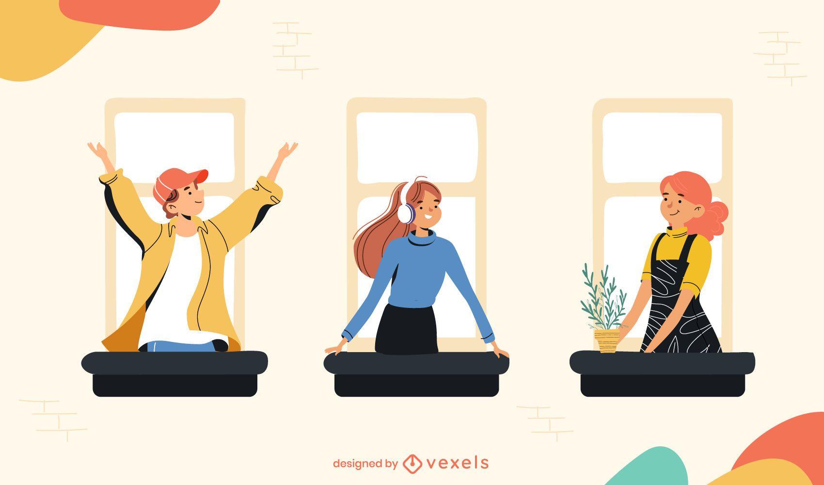 stay home windows illustration
