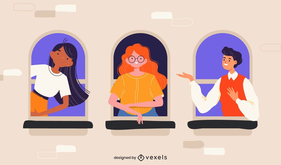 stay at home windows illustration
