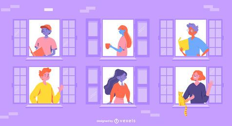 stay home people windows illustration