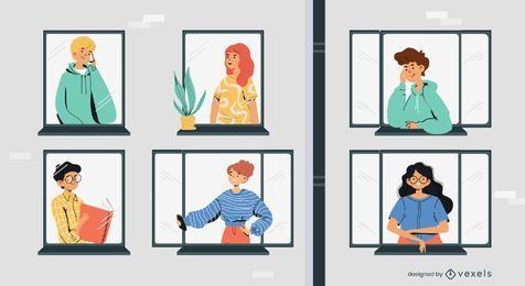 stay home characters windows illustration