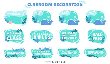 conjunto de etiquetas decorativas de aula oceánica