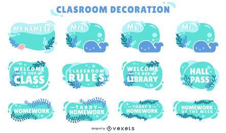 ocean classroom decorative labels set