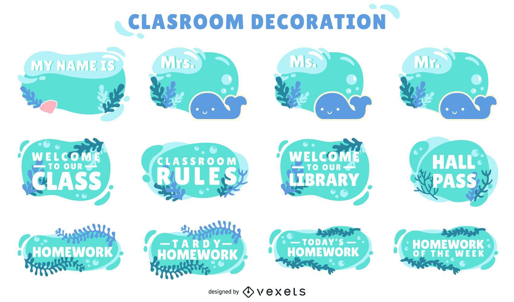 conjunto de etiquetas decorativas de sala de aula oceano