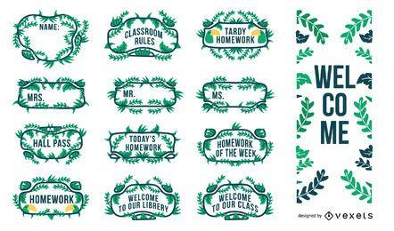 Conjunto de etiquetas decorativas de aula de la selva.