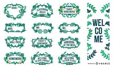 conjunto de etiquetas decorativas de sala de aula de selva
