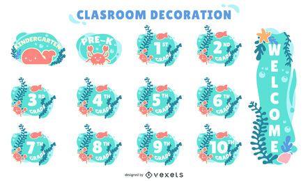 conjunto de etiquetas decorativas para notas de sala de aula