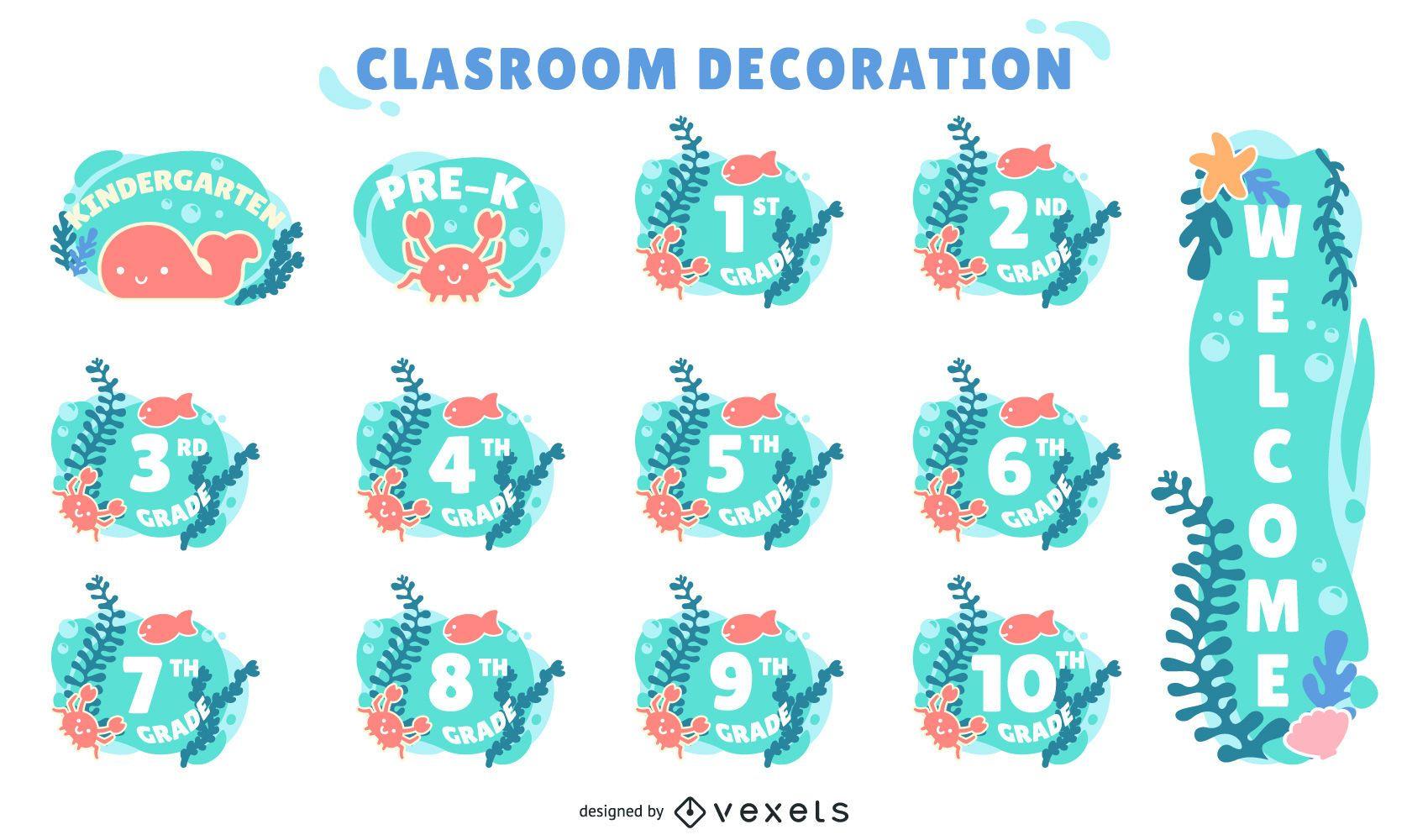 conjunto de etiquetas decorativas de grados de aula