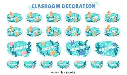 conjunto de etiquetas de calendario de aula de océano