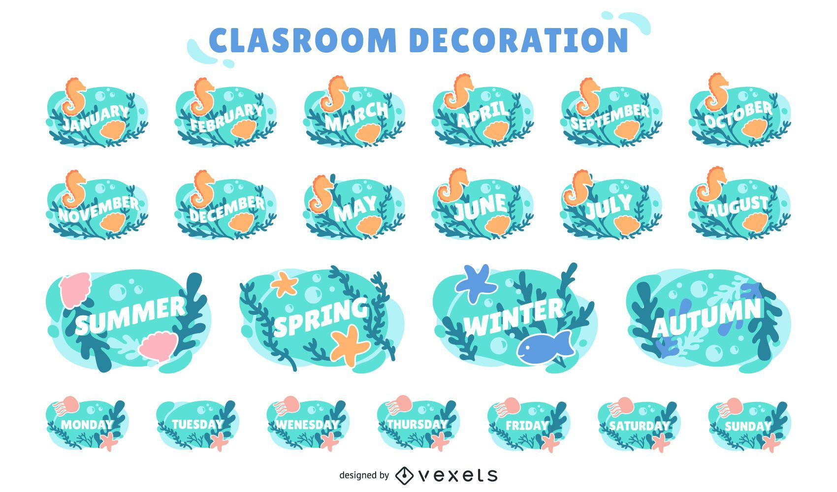 conjunto de etiquetas de calendário de sala de aula oceano