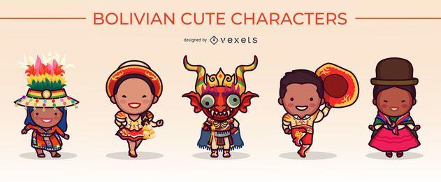 cute bolivian characters set