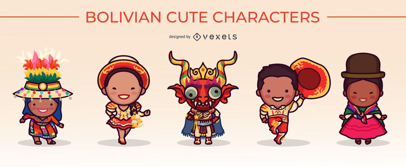lindo conjunto de personajes bolivianos