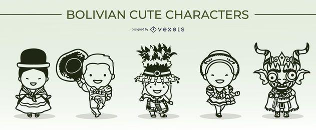 conjunto de traços de personagens bolivianos fofos