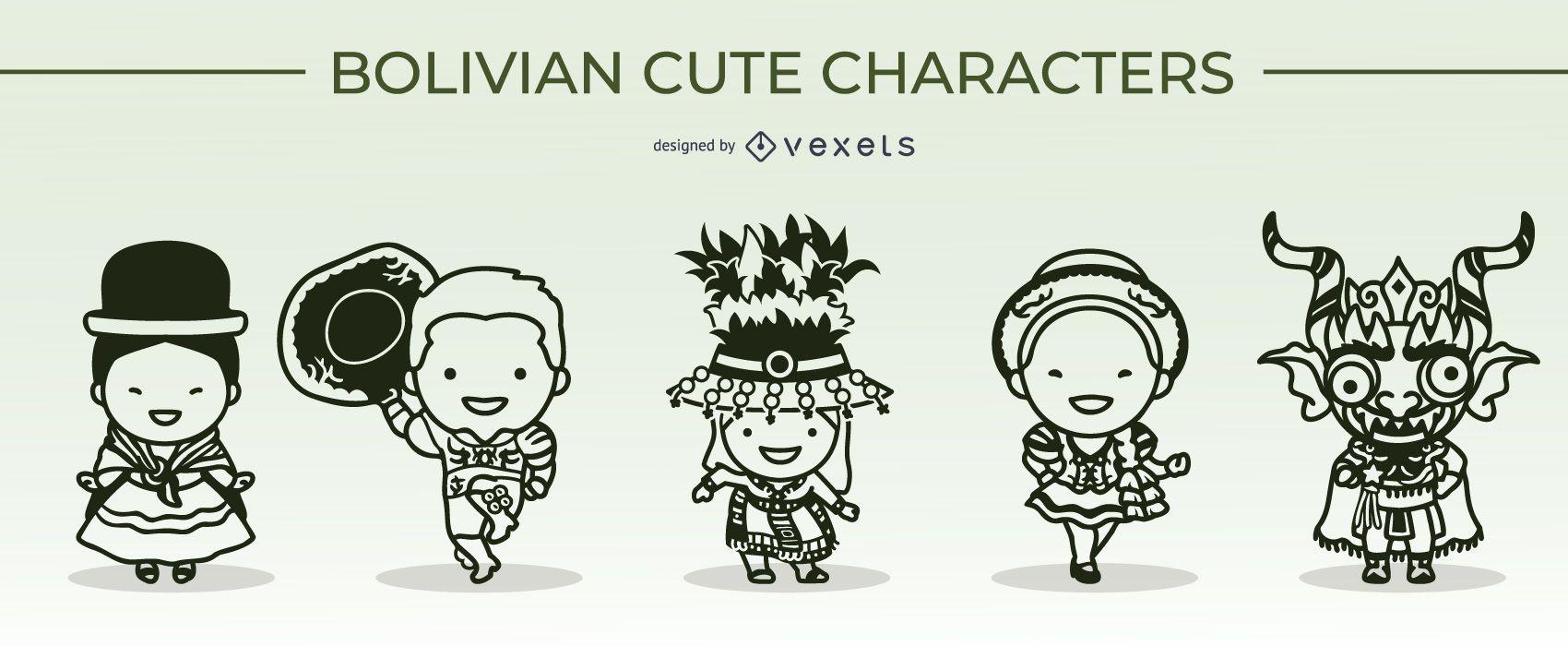 cute bolivian characters stroke set