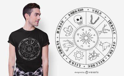 Design de camisetas com linha de calendário pagão