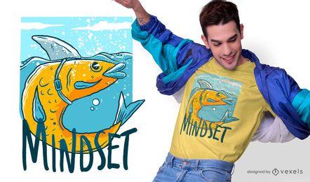 Diseño de camiseta de cita de pez tiburón