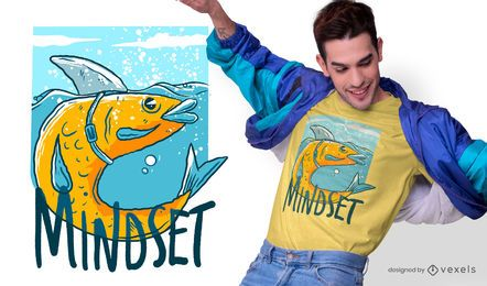 Diseño de camiseta Shark Fish Quote