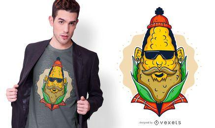 Design de t-shirt de milho hipster
