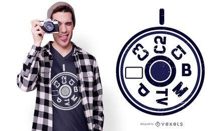 Diseño de camiseta de menú de cámara DSLR