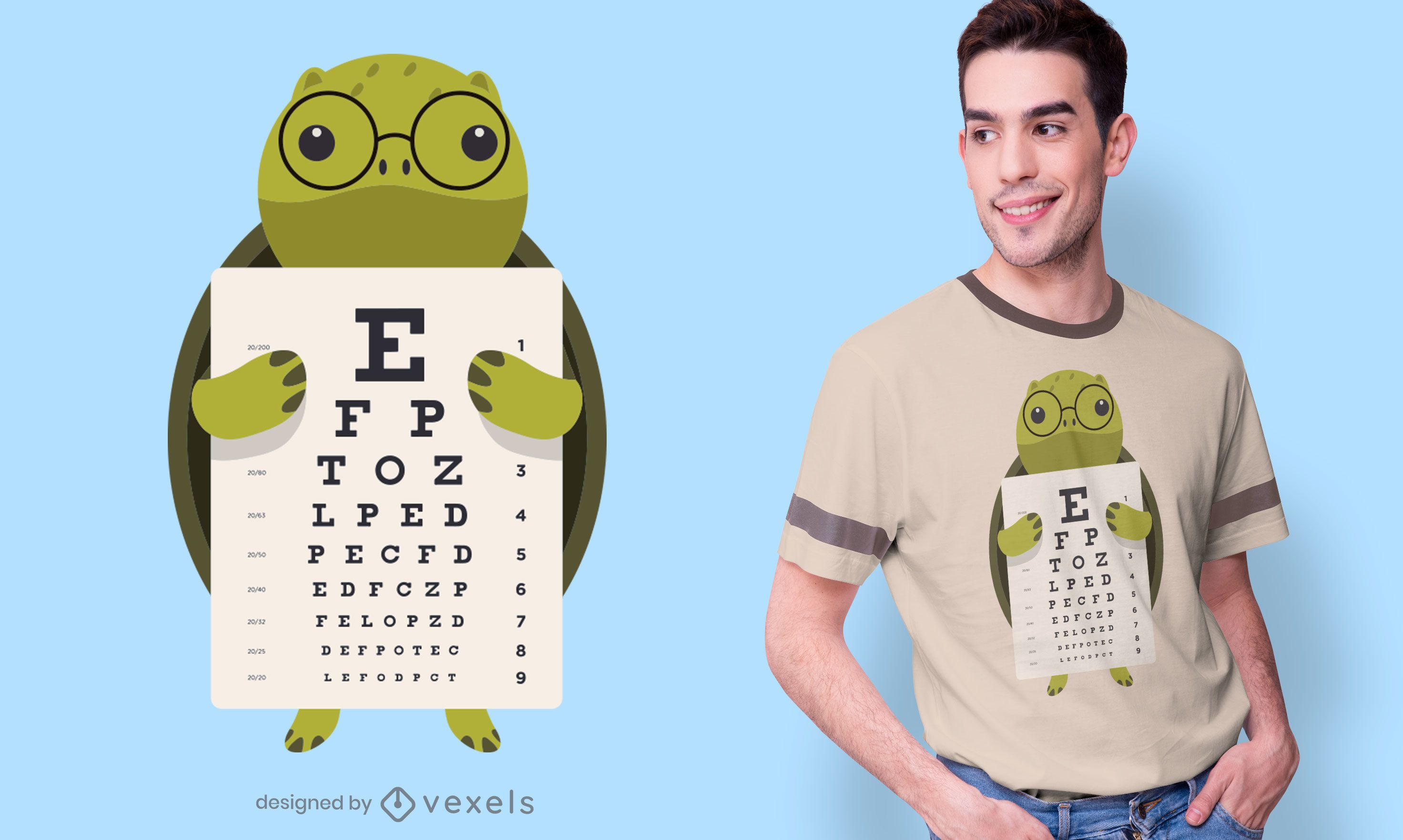Dise?o de camiseta Turtle Eye Chart