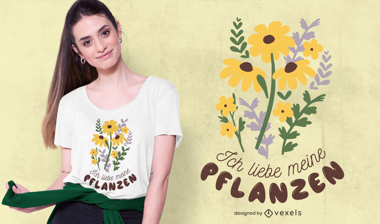 Design de camisetas com citações alemãs de plantas do amor