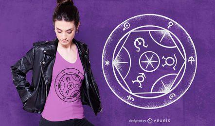 Design de camiseta de círculo de transmutação