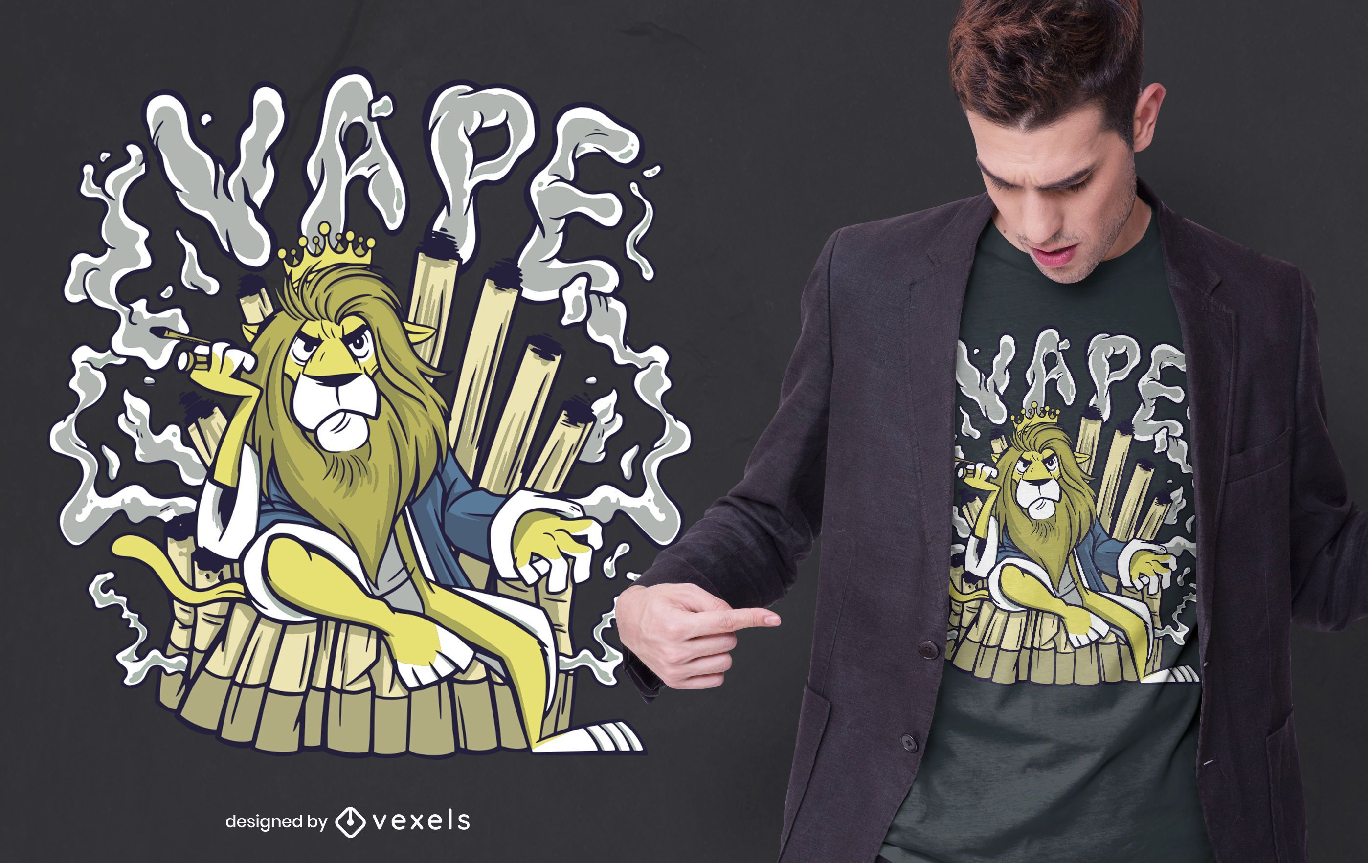 Diseño de camiseta Vape Lion