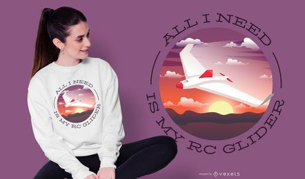 Diseño de camiseta RC Glider Quote