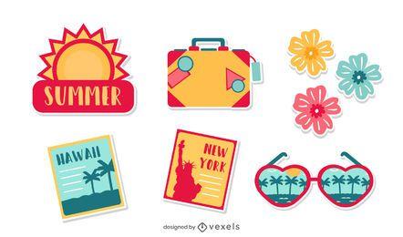 Paquete de elementos de vacaciones de verano