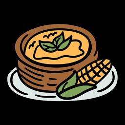 Plato de maíz argentino dibujado a mano