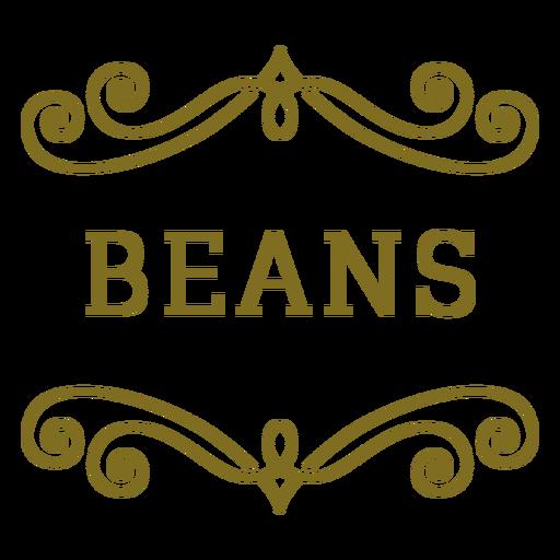 Etiqueta de frijoles remolinos